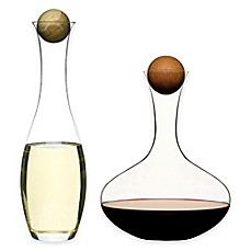 image of Red Wine and White Wine/Water 2-Piece Decanter Set with Oak Stoppers