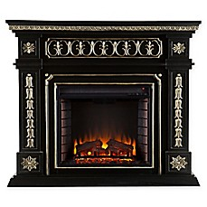 image of Southern Enterprises Donovan Electric Fireplace in Black