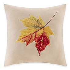 image of Madison Park Leaf Embroidered Square Throw Pillow