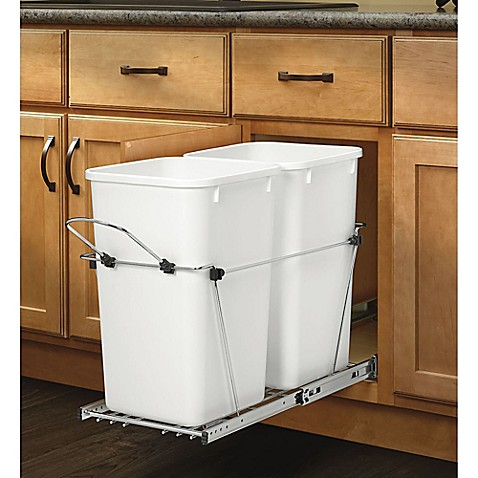 rev a shelf pullout waste containers in white bed bath. Black Bedroom Furniture Sets. Home Design Ideas