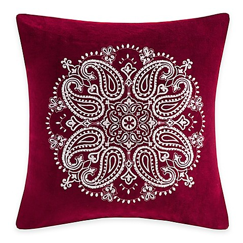 Buy Madison Park Cotton Velvet Medallion Square Throw Pillow in Red from Bed Bath & Beyond