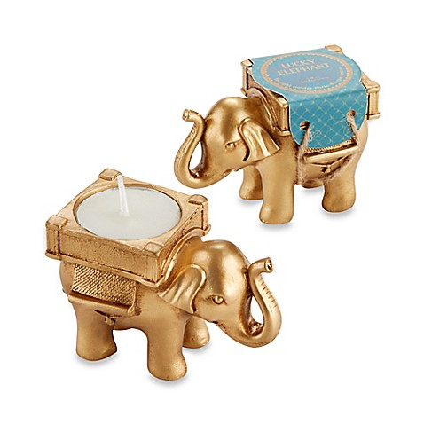 Kate Aspen® Lucky Golden Elephant Tealight Holder