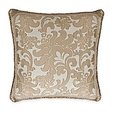 image of Austin Horn Classics Casablanca Floral Fringed Square Throw Pillow in Gold/Cream