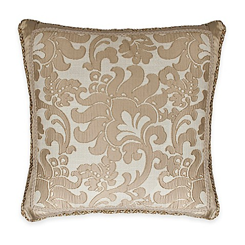 Austin Horn Classics Casablanca Floral Fringed Square Throw Pillow in Gold/Cream