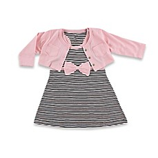 image of BabyVision® Hudson Baby® 2-Piece Racerback Dress with Cardigan Set in Black/Pink