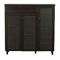image of Baxton Studio Pocillo Wood Shoe Storage Cabinet in Dark Brown