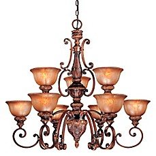 image of Minka Lavery® Illuminati 9-Light Chandelier in Bronze with Patina Glass Shade