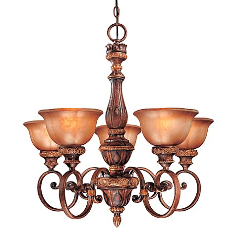 Minka Lavery® Illuminati 5-Light Chandelier in Bronze with Patina Glass Shade