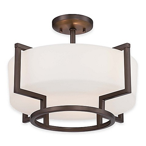 Buy minka lavery morlaix 3 light semi flush mount ceiling fixture in bronze with glass shade for Minka bathroom light fixtures