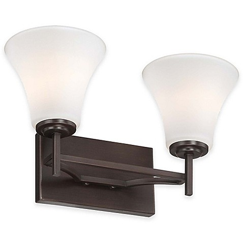 Minka lavery middlebrook 2 light wall mount bath fixture in vintage bronze with glass shade for Minka bathroom light fixtures