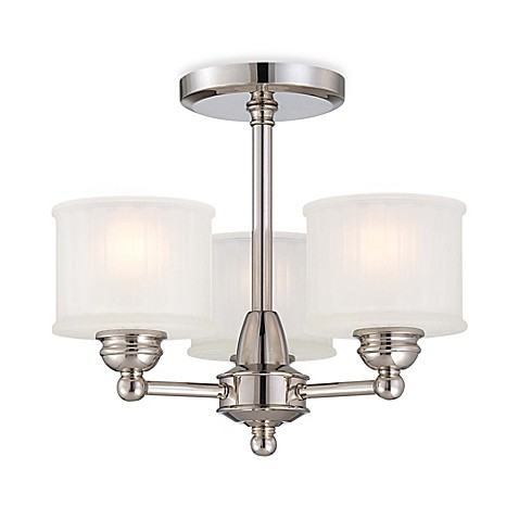 Minka lavery 1730 series 3 light semi flush mount fixture in polished nickel with glass shade for Minka bathroom light fixtures