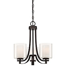 image of Minka Lavery® Parsons Studio 3-Light Mini Chandelier in Smoked Iron with Glass Shade