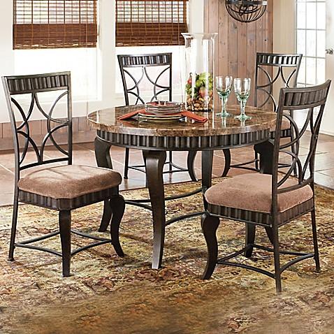 Elegant Steve Silver Co. Hamlyn 5 Piece Dining Set In Marble