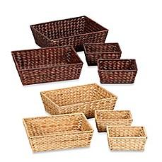 image of household essentials 4 piece banana leaf wicker storage basket set - Decorative Baskets