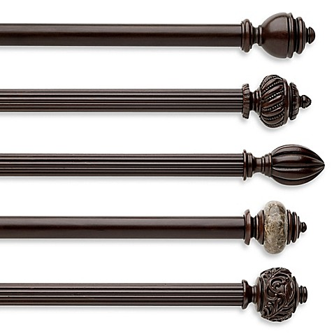 Cambria Chocolate Fluted Wood Pole Decorative Window Curtain Hardware Bed Bath Beyond