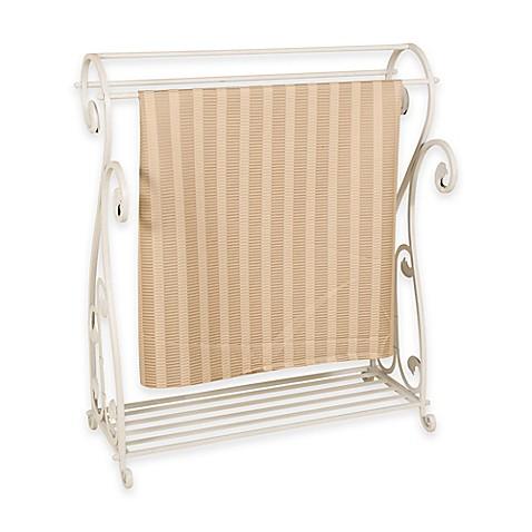 Metal Quilt Rack With Bottom Shelf In Whitewash Bed Bath Beyond