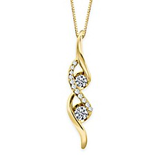 image of Sirena® Collection 14K Yellow Gold .25 cttw Diamond Twisted Linear Drop Pendant Necklace