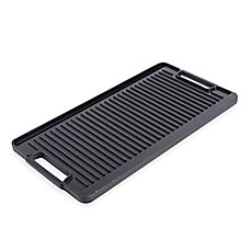 image of Artisanal Kitchen Supply® Pre-Seasoned Cast Iron Double Burner Grill/Griddle in Black