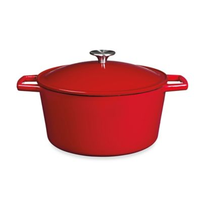 image of Artisanal Kitchen Supply® 5 qt. Enameled Cast Iron Dutch Oven in Red