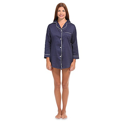 Buy large women 39 s button front sleep shirt in navy white for Where to buy womens button up shirts