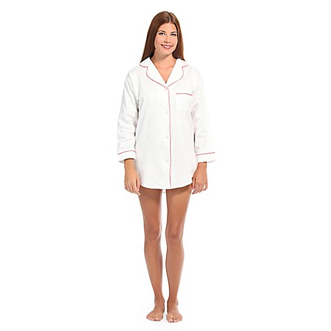 Buy small women 39 s button front sleep shirt in white pink for Where to buy womens button up shirts