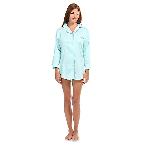 Buy small women 39 s button front sleep shirt in spa blue for Where to buy womens button up shirts