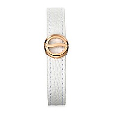 image of Philip Stein Rose Gold-Plated Stainless Steel Horizon Bracelet with White Leather Strap
