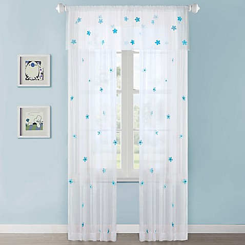 Mi zone kids lily sheer window curtain panel and valance for Kid curtains window treatments