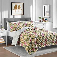 image of Ansley Reversible Quilt Set in Yellow/Rose