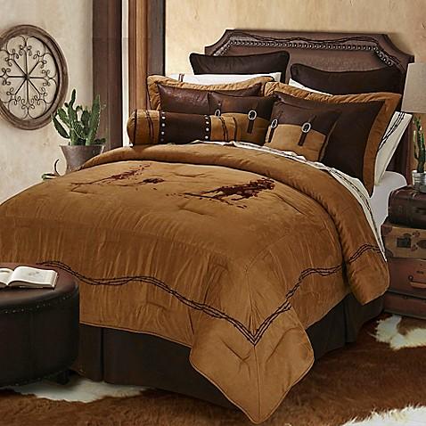Hiend Accents Team Roping Comforter Set In Brown Bed