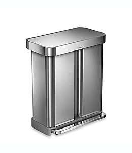 Bote de basura Simplehuman®, rectangular de acero inoxidable cepillado con pedal y doble compartimento, 57.91 L