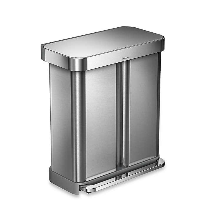 Bote de basura de acero inoxidable cepillado Simplehuman® con pedal y doble compartimento, 57.91 L