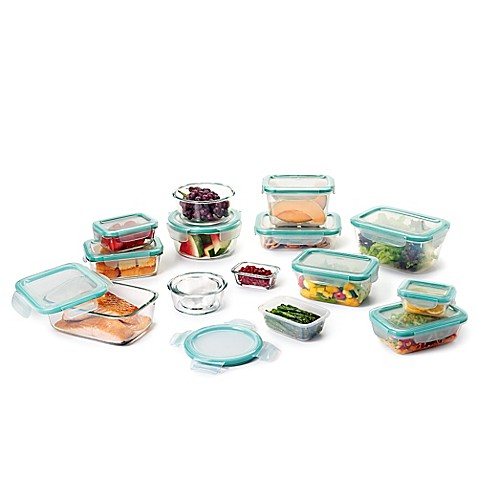 Oxo good grips 30 piece glass plastic food storage - Plastic bathroom storage containers ...