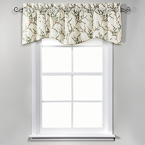 image of allendale 17inch lined embroidered valance in ivory - Valances