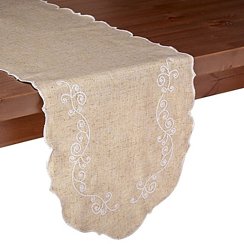Lenox french perle 54 inch table runner in linen bed for Table runners 52 inches