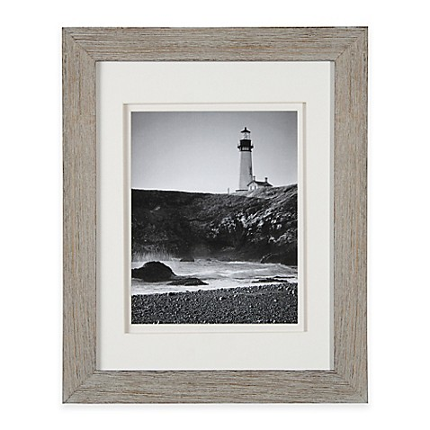 Real Simple® Wood Portrait Frame in Grey Wash with White Double Mat ...