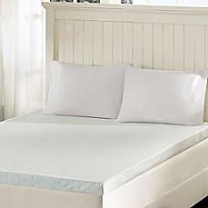 image of sleep philosophy flexapedic 3inch memory foam mattress topper in white