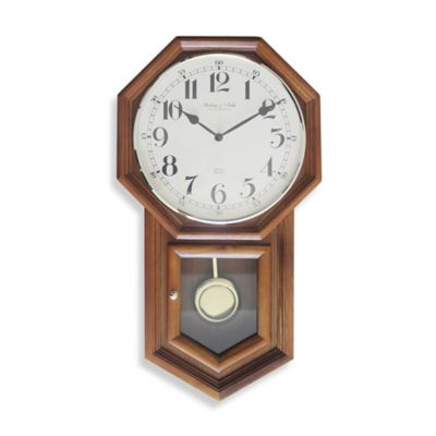 Sterling Noble Traditional Schoolhouse Regulator Wall Clock in