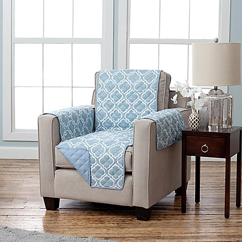 Buy Adalyn Collection Reversible Chair Size Furniture Protectors In Lattice Print Blue From Bed