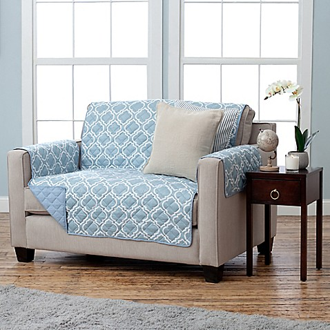Buy Adalyn Collection Reversible Loveseat Size Furniture Protectors In Lattice Print Blue From