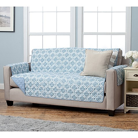 Buy Adalyn Collection Reversible Sofa Size Furniture Protectors In Lattice Print Blue From Bed
