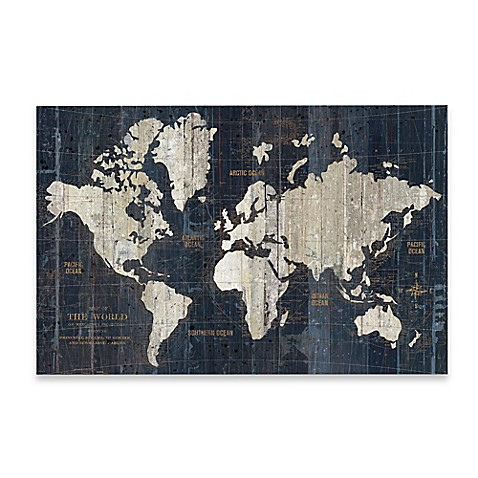 Old World Map Art. Old World Map Wall Art in Blue  Bed Bath Beyond