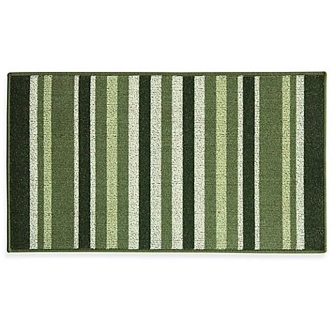 Gentil Bacova Striped Ivy 22.4 Inch X 40 Inch Berber Kitchen Rug In Green