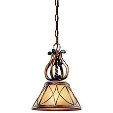 image of Minka Lavery® Aston Court™ 13.5-Inch Mini Pendant in Bronze with Glass Shade