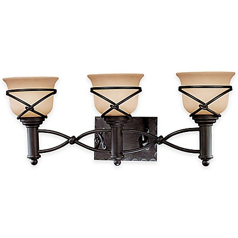 Buy minka lavery aspen ii 3 light bath fixture in aspen bronze with glass shade from bed bath for Minka bathroom light fixtures