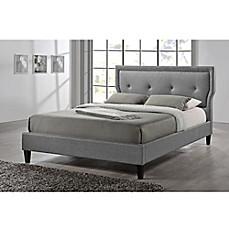 image of baxton studio marquesa linen upholstered platform bed - Upholstered Platform Bed