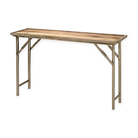 buy jamie young natural wood folding campaign console table from bed bath beyond. Black Bedroom Furniture Sets. Home Design Ideas