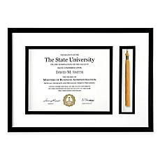 image of PhotoGuard 18-Inch x 12.75-Inch Graduation Certificate and Tassel Frame in Black