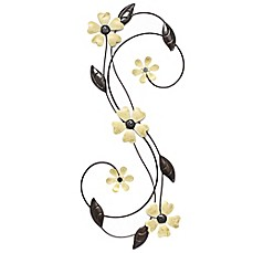 image of tolman yellow flower metal scroll wall art - Metal Flower Wall Decor