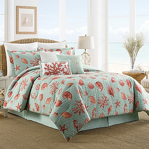 Coastal Life Luxe Coral Reversible Comforter Set Bed